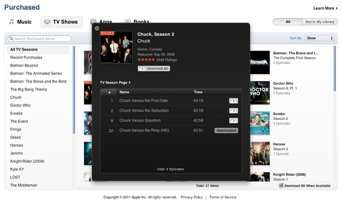 iTunes Store : Onglet Purchased TV Shows