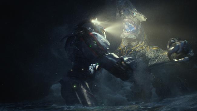 Combat entre un Jaeger et un Kaiju