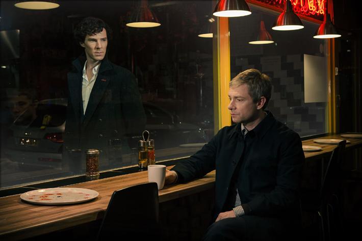 Sherlock (Benedict Cumberbatch) et Watson (Martin Freeman)